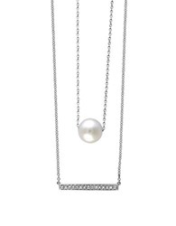 Effy 925 Sterling Silver Diamond And Cultured Freshwater Pearl Necklace