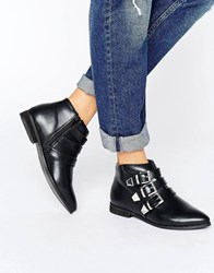 London Rebel Metal Trim Flat Boot Black Pu