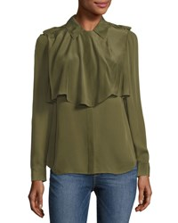 Frame Mixed Military Long Sleeve Silk Shirt Dark Green