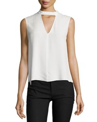 Derek Lam Sleeveless Voile Mock Neck Blouse Soft White