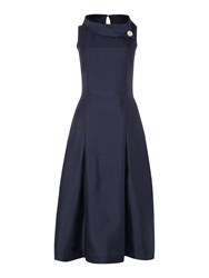 Tahari By Arthur S. Levine Asl Silver Envelope Collar Midi Dress Blue