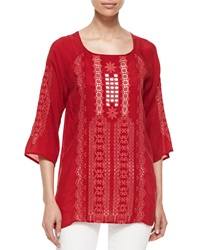 Johnny Was Liya 3 4 Sleeve Georgette Tunic