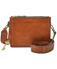 Fossil Campbell Studded Guitar Strap Small Crossbody Brown
