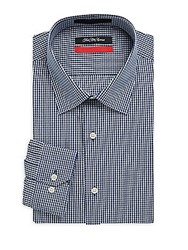 Saks Fifth Avenue Dobby Gingham Button Down Shirt Navy