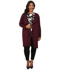 Vince Camuto Plus Size Long Sleeve Drape Front Maxi Cardigan Raisin Women's Sweater Brown