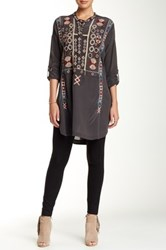 Biya Long Sleeve Side Slit Embroidered Silk Blouse Gray