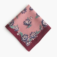 J.Crew Italian Wool Pocket Square In Bloom Print Rose Quartz