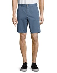 French Connection Solid Cotton Shorts Cadet Blue