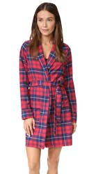 Three J Nyc Alex Flannel Robe Red Navy Plaid