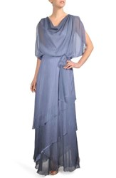 Komarov Ombre Tiered Skirt Blouson Gown Persian Violet Blue Ombre
