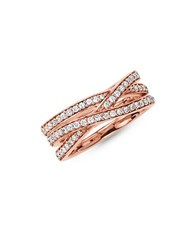 Thomas Sabo Crossover Three Row Sterling Silver Eternity Ring Rose Gold