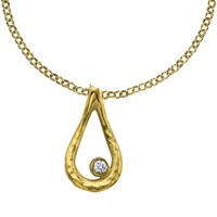 Dower And Hall Open Teardrop White Topaz Dewdrop Pendant Gold