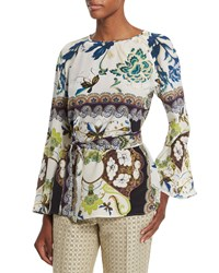 Etro Watercolor Floral Print Bell Sleeve Silk Tunic White Women's