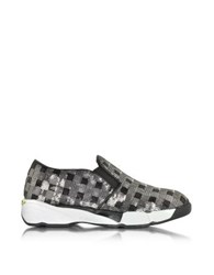 Pinko Sequins Silver Fabric Sneaker