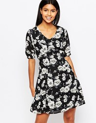 Poppy Lux Thereasa Tea Dress In Rose Print Black