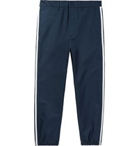 Gucci Slim Fit Cropped Grosgrain Trimmed Twill Trousers Navy