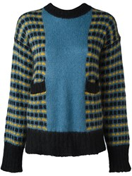 Marni Loose Colour Block Jumper Blue