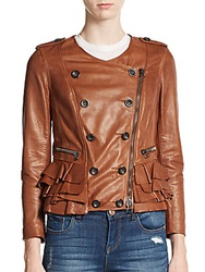 3.1 Phillip Lim Leather Double Breasted Ruffled Jacket Cognac
