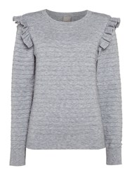 Vero Moda Vicky Ruffle Long Sleeve Blouse Grey