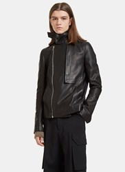 Rick Owens Leather Trench Bomber Jacket Black