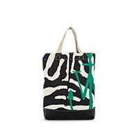 J.W.Anderson Leather Trimmed Canvas Tote Bag Wht.Andblk. Wht.Andblk.
