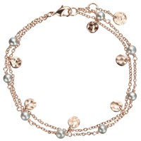 John Lewis Rose Gold Plated Pearl And Hammered Disc Double Chain Bracelet Rose Gold Grey