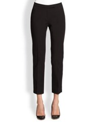 Peserico Stretch Cotton Cropped Slim Leg Pants Taupe Black