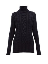 Thom Browne Striped High Neck Wool Sweater Navy