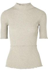 3.1 Phillip Lim Metallic Ribbed Knit Turtleneck Top Neutral