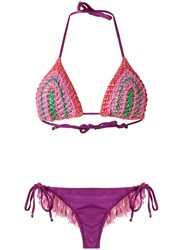 Amir Slama Triangle Bikini Set Pink And Purple