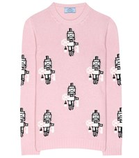 Prada Wool And Cashmere Patterned Sweater Pink