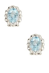 Savvy Cie Sterling Silver Blue Topaz Stud Earrings