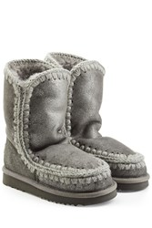 Mou Metallic Eskimo 24 Wedge Sheepskin Boots Grey
