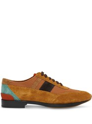 Burberry Mesh Panel Suede Lace Up Shoes Brown