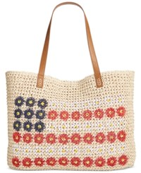 Style And Co Co. Daisy Flag Straw Beach Bag Only At Macy's
