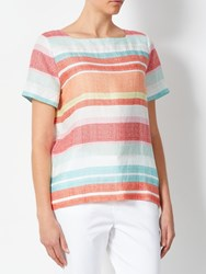 John Lewis Collection Weekend By Linen Striped Linen T Shirt Pink White