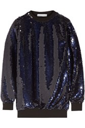 Carven Oversized Sequined Tulle Top Midnight Blue