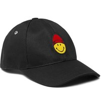 Ami Alexandre Mattiussi The Smiley Company Logo Embroidered Cotton Twill Baseball Cap Black