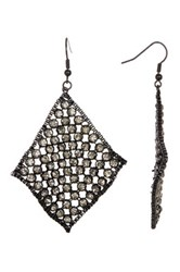 Free Press Bezel Stone Square Kite Earrings Black