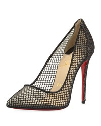 Christian Louboutin Follies Fishnet Red Sole Pump Black Multi Women's Size 39.0B 9.0B