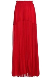 Amanda Wakeley Tiered Silk Mesh Maxi Skirt Red