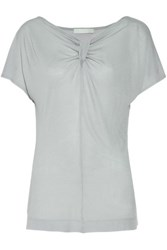 Kain Label Ella Tie Front Modal And Silk Blend Top Sky Blue