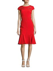 Marchesa Cap Sleeve Dress Red