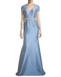 Theia Satin Gown W Beaded Waist Powder Blue
