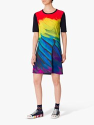Paul Smith Ps Feather Print Photo T Shirt Dress Navy Multi