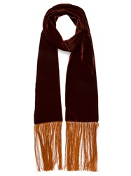 Haider Ackermann Fringed Velvet Scarf Red