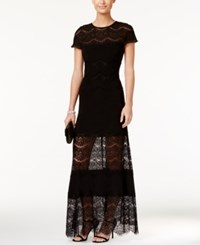 Betsy And Adam Illusion Hem A Line Gown Black