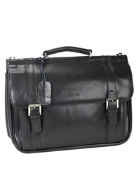 Kenneth Cole Reaction Rod White And Blue Leather Double Gusset Portfolio Black