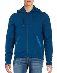 Michael Kors Solid Hooded French Terry Hoodie Pacific Blue