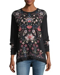 Johnny Was Nindi Embroidered Thermal Pullover Black